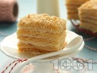 Лесна домашна крем пита / сладкиш / торта / десерт Наполеон с готово бутер тесто и ванилов крем и сметана